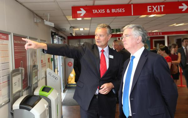 Business minister Michael Fallon, pictured with Red Funnel chief executive Kevin George, visits the ferry terminal to see how it will be modernised with help of LEP cash.