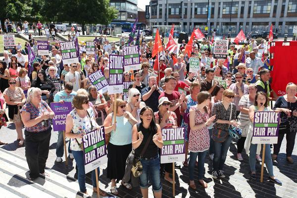 Hundreds take to streets in public sector strike