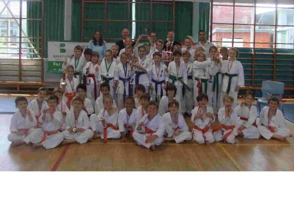 KARATE KIDS: The competitors at the end of the karate event at St Michael's School in Colehill.