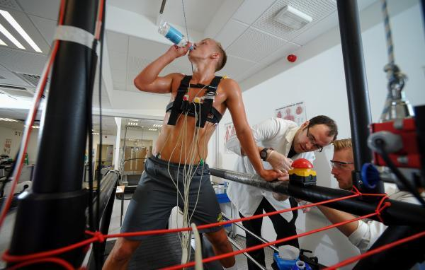 James Ward-Prowse takes a drink while being monitored.Pictures PBW Pix