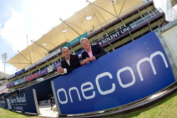 James Bannister, managing director of OneCom, with Stuart Robertson, commercial director of the Ageas Bowl.
