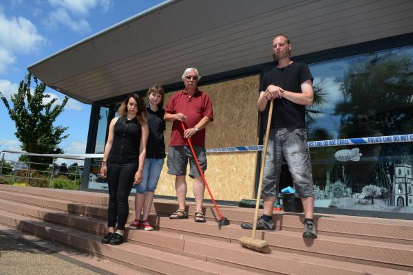Cleaning up at Parklife Cafe in Shirley after it was hit by vandals
