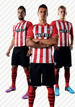 Saints stars proudly wearing the club's new kit.