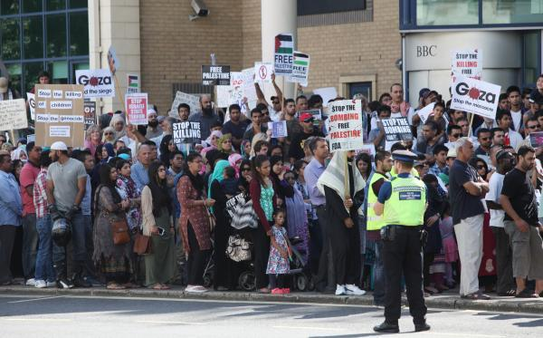 Protesters against the conflict in Gaza march through the streets of Southampton