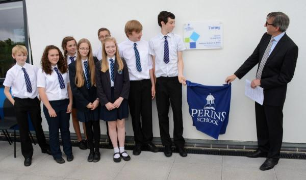 Prof Graham Niblo of Southampton University opens the building with Perins pupils.
