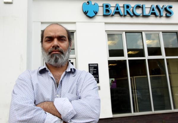 Victim Salaur Rahman says thousands of pounds were stolen fron inside Barclays Bank