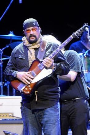 Steven Seagal on stage in Budapest last month.