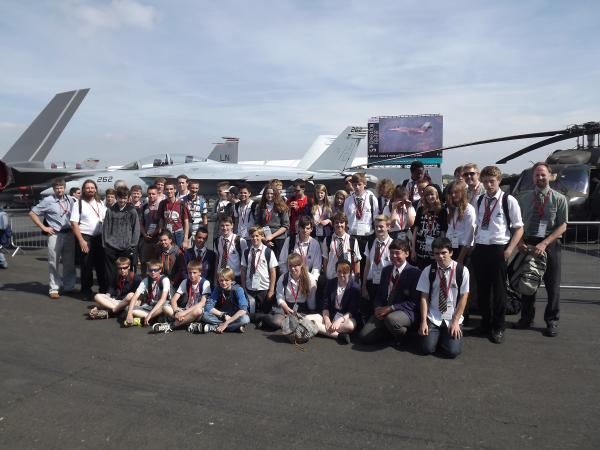 The youngsters at Farnborough airshow.