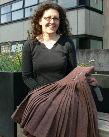 Dr Helen Paul from the University of Southampton with the kilt