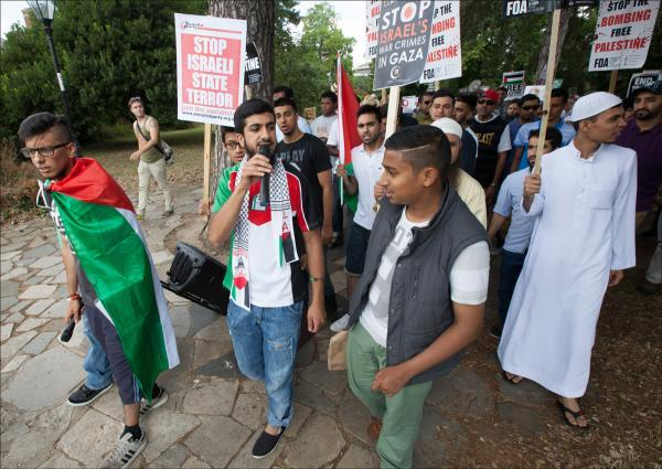 Protesters against the rising death toll in Gaza march through Southampton