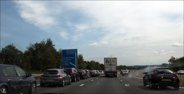 Tailbacks around the park and ride junction of the M27.