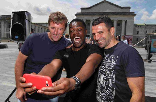 The Saints actor Tendayi Jembere grabs a selfie with Le Tissier, left, and Benali