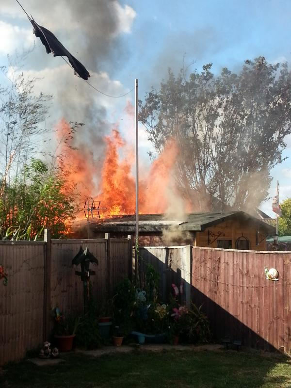 The fire ripped through seven gardens in Totton