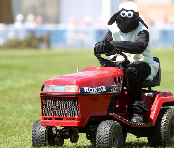 Shaun the Sheep on a tractor at the New Forest Show