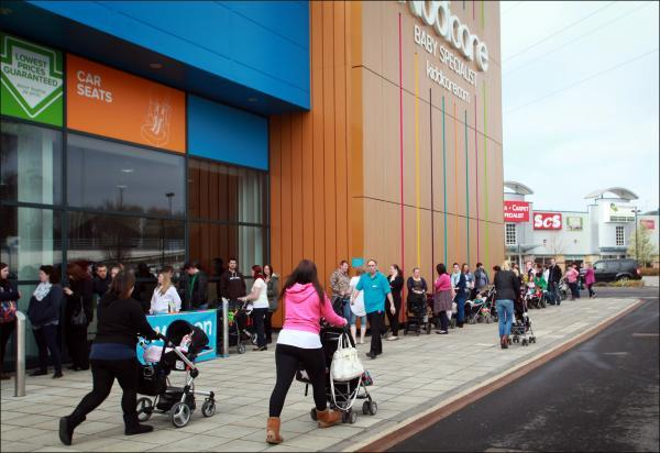 Crowds outside Kiddicare when it opened in April 2013