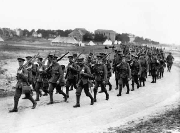 British troops head towards the River Somme Valley in 1916.