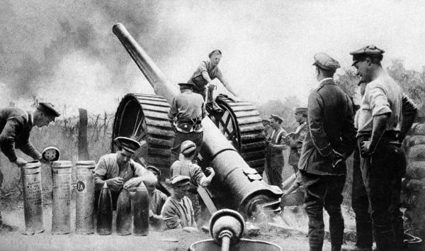British artillerymen pictured during the opening of the Battle of the Somme during the First World War