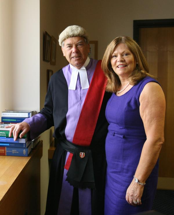 Judge Derwin Hope in his chambers with wife Heidi Hope