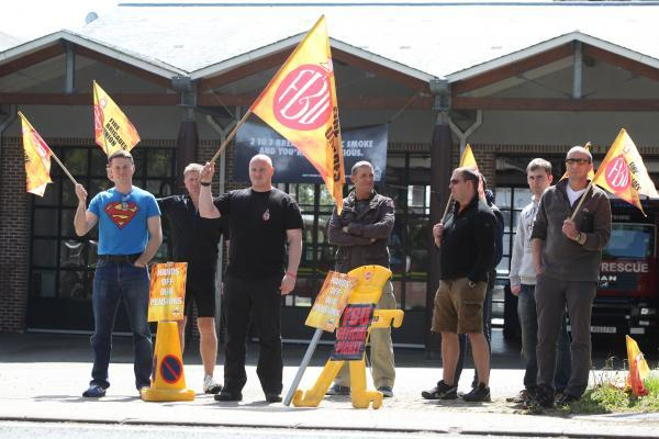 Firefighters on the picket line at Hightown fire station in Southampton during a previous strike