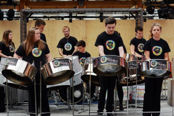 Steel pan group PanJazz entertain the crowd at Global Rhythms in Guildhall Square