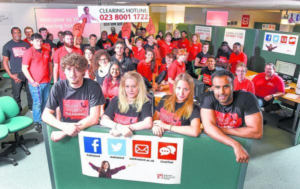 Students, volunteers and staff who will be manning the clearing hotlines at Southampton Solent University.