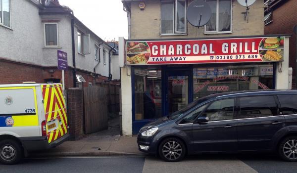 The Charcoal Grill takeaway in Totton was searched as part of Operation Buoy the Daily Echo understands