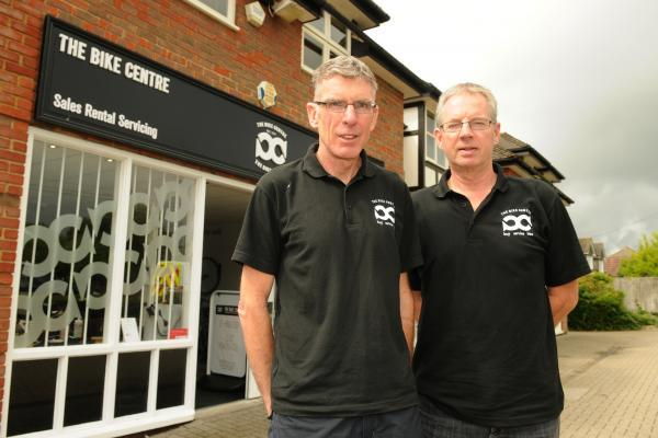 Chris Bailey (left) and Tony Edwards, co-owners of The Bike Centre in North Baddesley which was raided by thieves