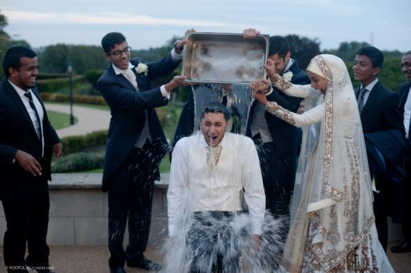 Groom gets soaking with Ice Bucket Challenge