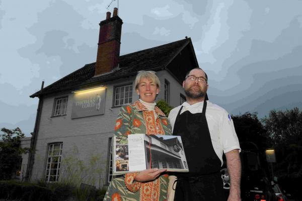 Penny Ericson with Fran Joyce at The Thomas Lord pub in West Meon.