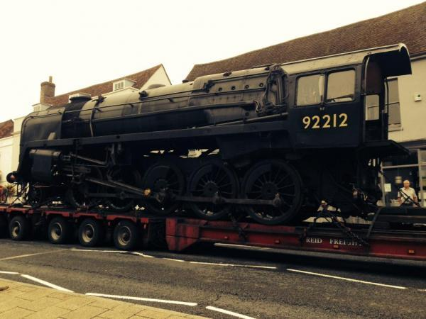 The lorry carrying the Watercress Line steam engine broke down in Alresford. Pictu