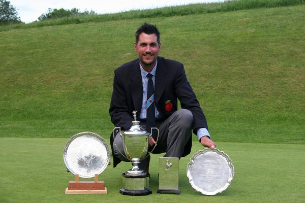 Martin Young with his unique grand slam collection of Hampshire golf titles.