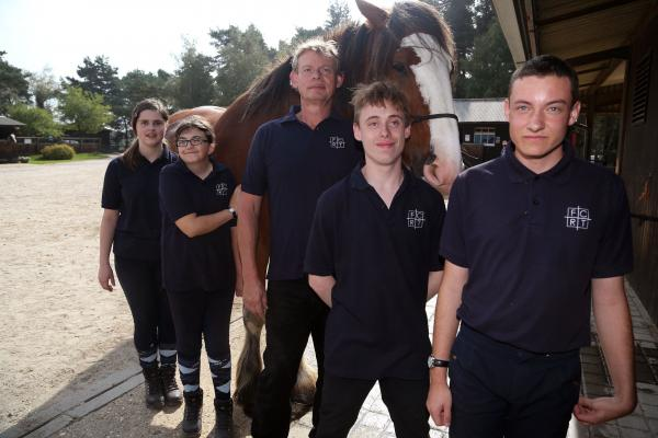 Martin Clunes meets students at the Fortune Centre of Riding Therapy in Bransgore in the New Forest