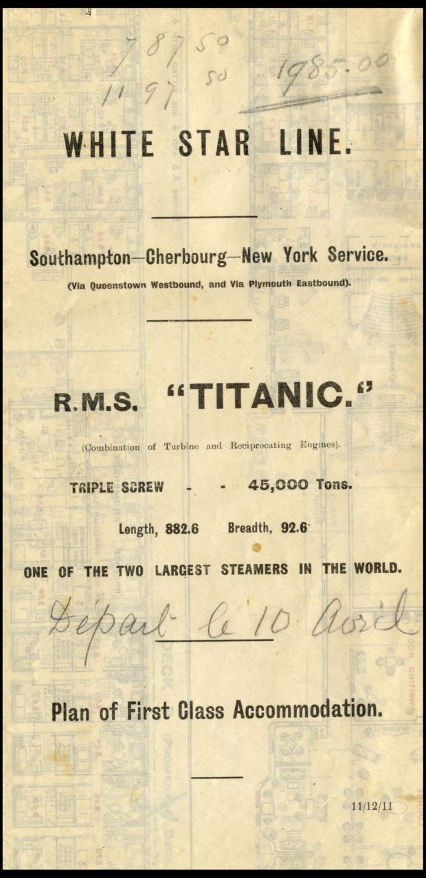 Titanic Deck Plan And Lunch Menu For Sale As Part Of