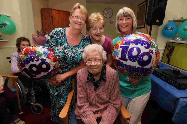LIVE LONG: Lilian Collins celebrates her 100th birthday with daughters, from left, Marie, Joan and Christine.