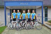 Hampshire officers ahead of their 123-mile bicycle race for Children In Need