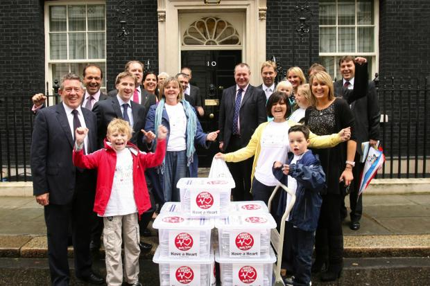 MPs and campaigners deliver the Have a Heart petition to 10 Downing Street