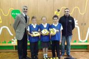 Luzozade promotion: Suki Dosanjh presenting the equipment to Cherbourg Primary School.