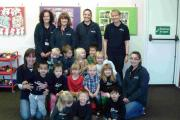 Staff and children at Hollytree Community Pre-School in North Baddesley