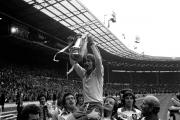 Saints lift the trophy at the end of the 1976 FA Cup Final against Manchester United