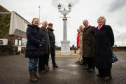 Campaigners Yvonne Mackenzie, Ivor Johnston, Peter Stone, Mayor Michael White, Clive Sutton, and Cllr Elizabeth Lewis