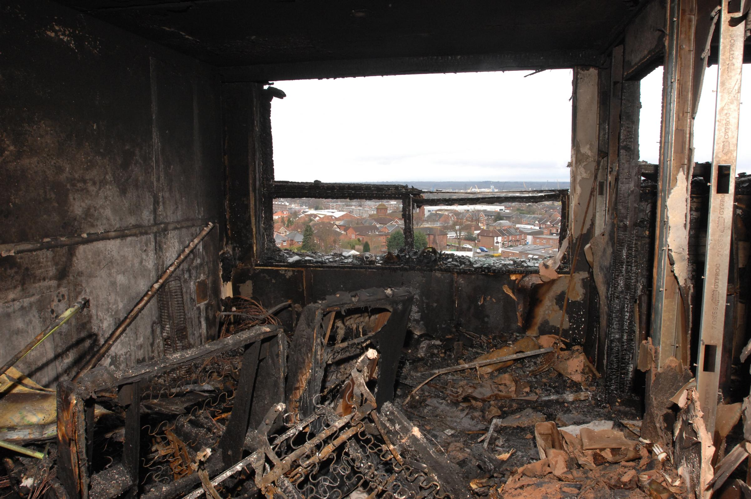 The scene of the blaze at Shirley Towers five years ago