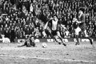 Steve Moran about to score Saints' winner at Anfield in 1981