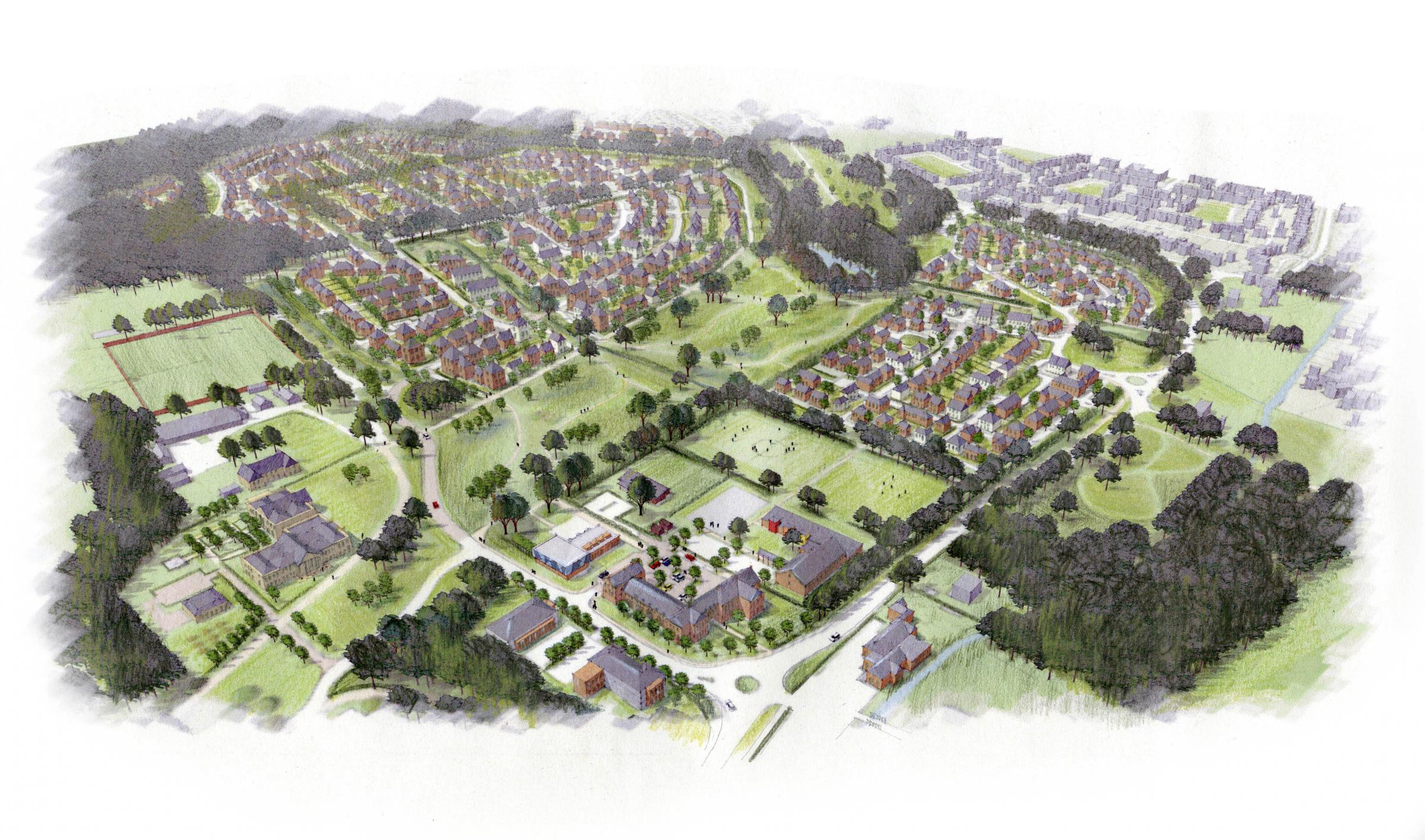 An artist's impression of what North Stoneham Park development in Eastleigh could look like
