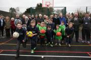 "GRAND OPENING: Launch of the new outdoor multi-use area at King's Somborne years to come."" recreation ground"