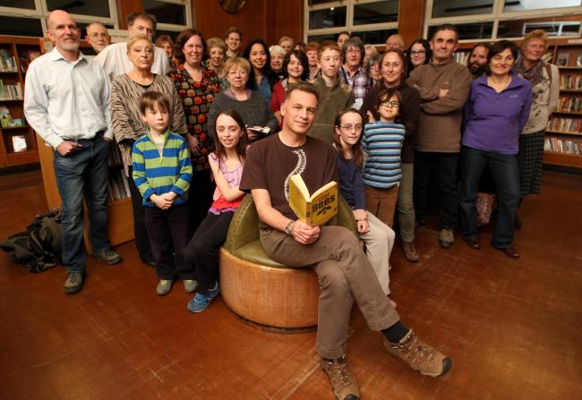 Chris Packham with Friends of Cobbett Road Library