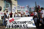 A previous protest at Southampton Civic Centre against the biomass plans