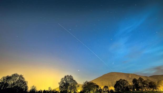 Daily Echo: BEAUTIFUL: Dave Grubb photographed the International Space Station passing over the Malvern Hills.