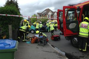 "Women in ""serious condition"" after crash between fire engine and car"