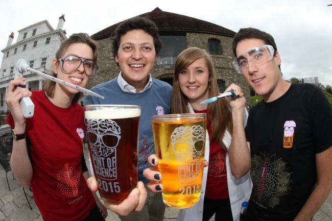 Scientists from the University of Southampton pictured at the Dancing Man Pub ahead of next weeks Pint of Science event (l-r) Giulia Carella, Nathan Shammqh, Katy Stubbs and Cristian Lopez.