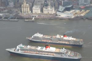 VIDEO AND PHOTOS: Cunard flagship's 'Three Queens' Salute' on the River Mersey